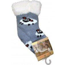 Детские теплые тапки-носки с силиконовыми вставками на подошве Emi Ross EJ-6812-g