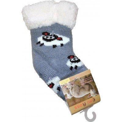 Детские теплые тапки-носки с силиконовыми вставками на подошве Emi Ross 17-19 размера 24-36 месяцев (модель EJ-6812-g)