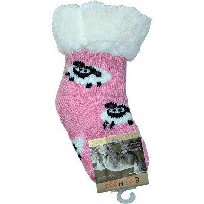 Детские теплые тапки-носки с силиконовыми вставками на подошве Emi Ross (модель EJ-6812-p)