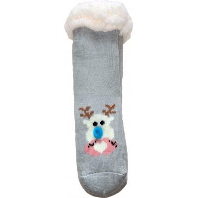 Детские теплые тапки-носки с силиконовыми вставками на подошве LookEN 26-28 размера (модель SM-HL-7211D-g)
