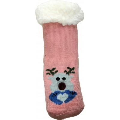 Детские теплые тапки-носки с силиконовыми вставками на подошве LookEN 26-28 размера (модель SM-HL-7211D-p)
