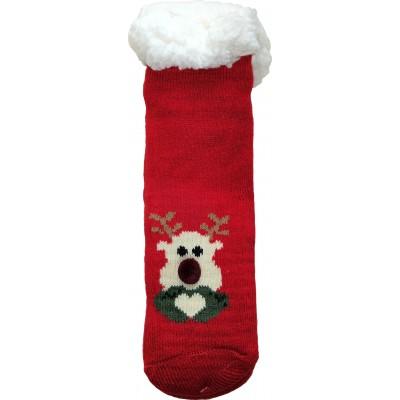 Детские теплые тапки-носки с силиконовыми вставками на подошве LookEN 26-28 размера (модель SM-HL-7211D-r)
