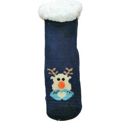 Детские теплые тапки-носки с силиконовыми вставками на подошве LookEN 26-28 размера (модель SM-HL-7211D-b)