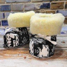Домашние теплые детские тапочки-сапожки из шерсти TK-01 на 6+ месяцев