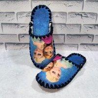 Детские фетровые тапочки для девочек ручной работы VENDS 838bl