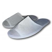 Комнатные флисовые тапочки для гостей универсального размера Kh-01w с открытым носком