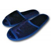 Комнатные велюровые тапочки для гостей универсального размера Kh-02b с открытым носком
