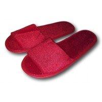 Комнатные велюровые тапочки для гостей универсального размера Kh-02r с открытым носком