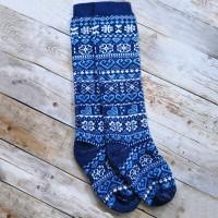 Женские теплые гольфы из шерсти ангоры Angorka IGL063 синего цвета 40 размера