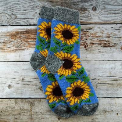 Женские ангоровые носки Angorka 37 размера 23 см синего цвета (модель IZH068)