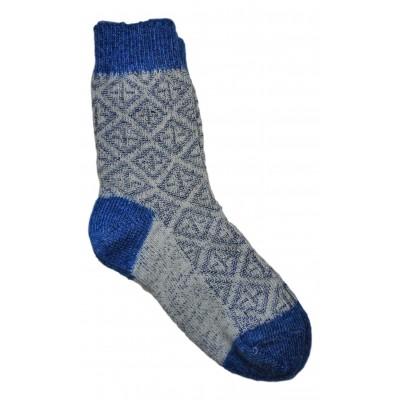 Женские теплые тонкие носки сине-белого цвета из овечьей шерсти  (модель IV-0003)