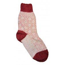 Женские теплые тонкие носки красно-белого цвета из овечьей шерсти IV-0002
