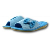 Комнатные женские открытые вельветовые тапочки БЕЛСТА (BELSTA) B1002 синие