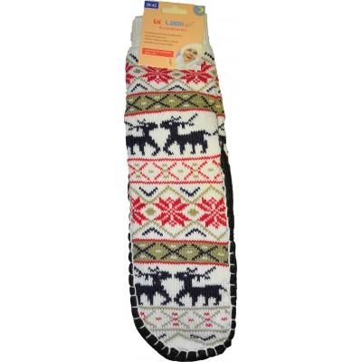 Женские тапочки-носки с силиконовыми вставками на подошве LookEn 35-38 размера белого цвета (модель SM-D-239-w)