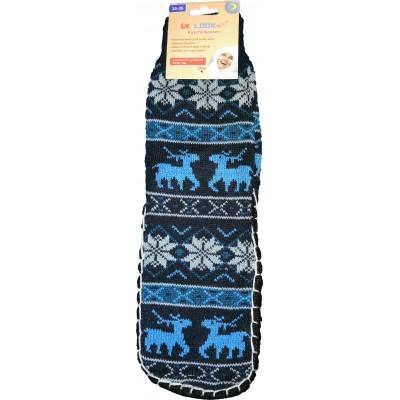 Женские тапочки-носки с силиконовыми вставками на подошве LookEn 35-38 размера синего цвета (модель SM-D-239-b)
