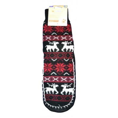 Женские тапочки-носки с силиконовыми вставками на подошве LookEn черного цвета (модель SM-D-239-bl)