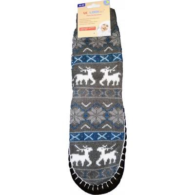 Женские тапочки-носки с силиконовыми вставками на подошве LookEn серого цвета (модель SM-D-239-g)