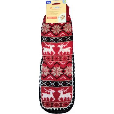 Женские тапочки-носки с силиконовыми вставками на подошве LookEn 35-38 размера красного цвета (модель SM-D-239-r)