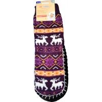 Женские теплые тапочки-носки с силиконовыми вставками на подошве LookEn SM-D-239-br