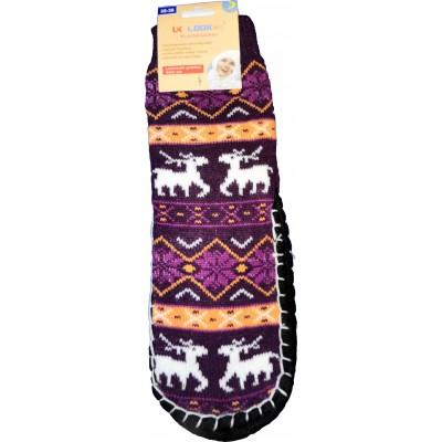 Женские тапочки-носки с силиконовыми вставками на подошве LookEn 35-38 размера фиолетового цвета (модель SM-D-239-br)