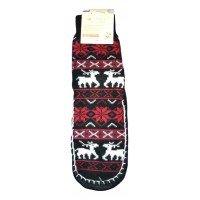 Женские теплые тапочки-носки с силиконовыми вставками на подошве LookEn SM-D-239-bl