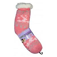 Женские теплые термоноски с силиконовыми вставками на подошве LookEN SM-HL-2031 розового цвета