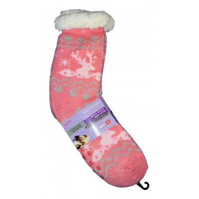 Женские теплые розовые термоноски с силиконовыми вставками на подошве LookEN 39-42 размера 25 см (модель SM-HL-2031)