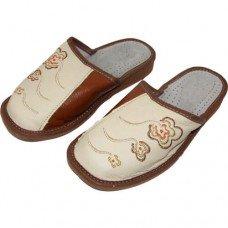 Комнатные женские кожаные тапочки Nowbut N320