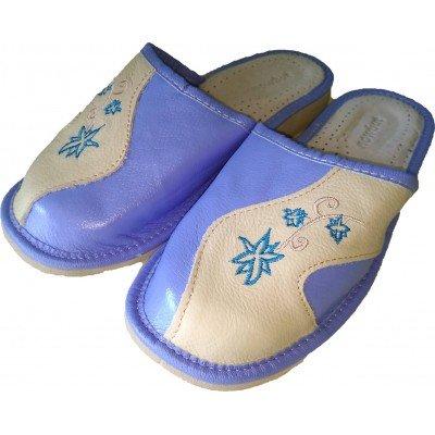 Комнатные женские кожаные тапочки Nowbut 38 размера 23,5 см (модель N639-02)