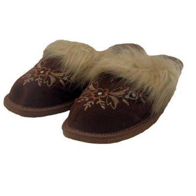 Комнатные кожаные утепленные женские тапочки Nowbut 38 размер 23,5 см (модель 668)