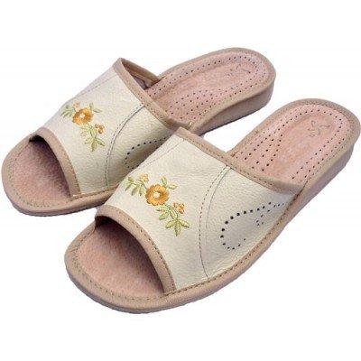 Комнатные женские кожаные тапочки Nowbut 40 размера 25,5 см (модель N9)