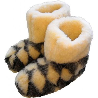 Комнатные женские тапочки-сапожки чуни из овчины Polmar 38/39 размер 25 см (модель 1001-08)
