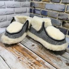 Домашние мужские теплые чуни из натуральной шерсти Polmar 1005-01
