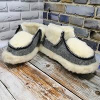 Домашние женские теплые чуни из натуральной шерсти Polmar 1005-01