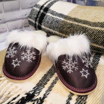 Комнатные женские кожаные тапочки утепленные Polmar 38 размер 23,5 см (модель P162bd)