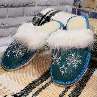 Комнатные женские кожаные тапочки утепленные Polmar P162blu