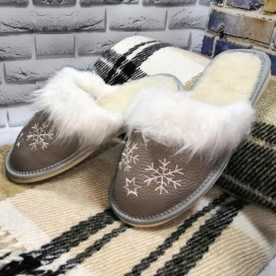 Комнатные женские кожаные тапочки утепленные Polmar (модель P162g)