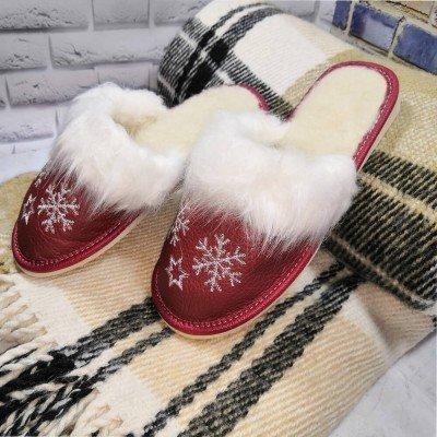 Комнатные женские кожаные тапочки утепленные Polmar 37 размер 23 см (модель P162r)