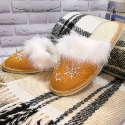 Комнатные женские кожаные тапочки утепленные Polmar 37 размер 23 см (модель P162y)