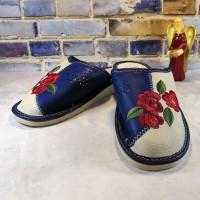 Комнатные женские кожаные тапочки Polmar P227blu