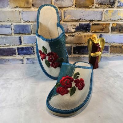 Комнатные женские кожаные тапочки Polmar 38 размер 23 см (P227gr)