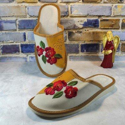 Комнатные женские кожаные тапочки Polmar (P227y)