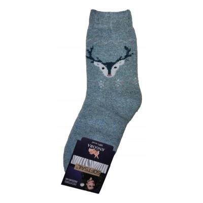 Женские ангоровые носки SOFTSAIL 35-38 размера бирюзового цвета (модель 7292)