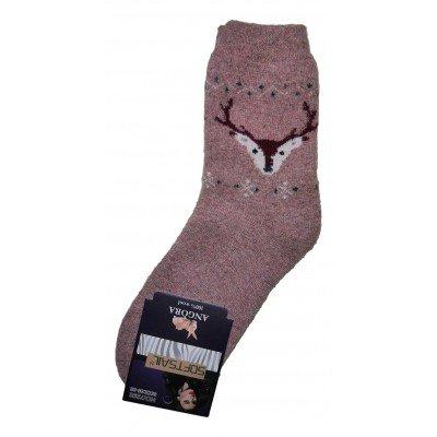 Женские ангоровые носки SOFTSAIL 35-38 размера розового цвета (модель 7292)