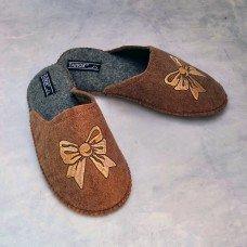 Комнатные женские паркетные войлочные тапочки TapOK T519br коричневые