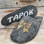 Комнатные женские паркетные войлочные тапочки TapOK T519gbr серые