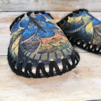Комнатные женские фетровые тапочки ручной работы VENDS 36/37 размер 23 см (модель 5-56W)