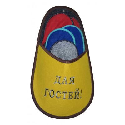 """Набор тапочек для гостей с надписью """"Для гостей"""" желтого цвета"""