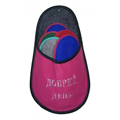 """Набор тапочек для гостей с надписью """"Добрий день"""" розового цвета"""