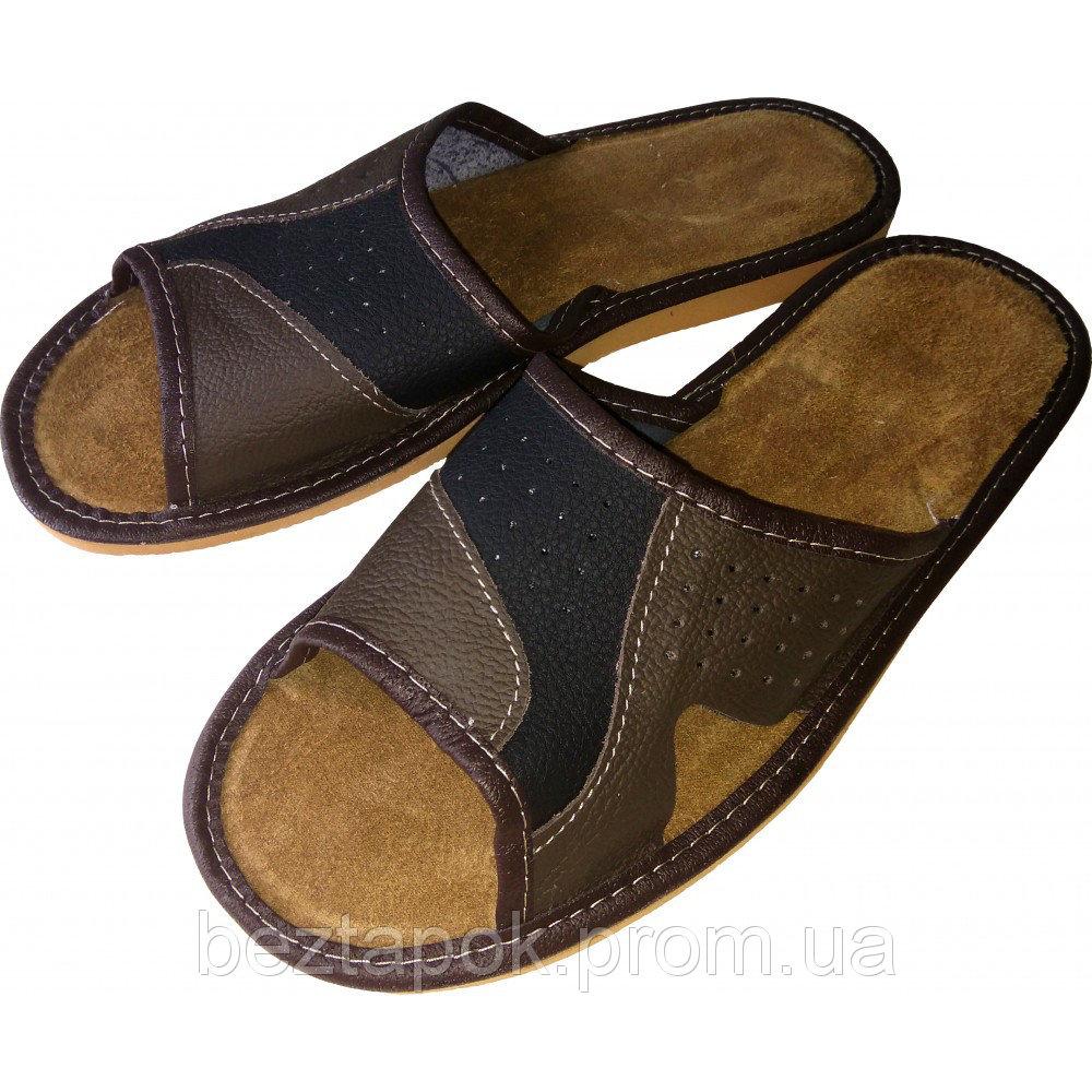 кожаные тапочки с открытым носком
